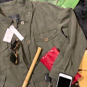 Sanctuary Clothing Khaki Grn Crop Trench Jacket S